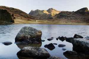 Looking over Blea Tarn to the Langdale Pikes at Dawn on a spring morning (c) Ben Barden and Cumbria Tourism